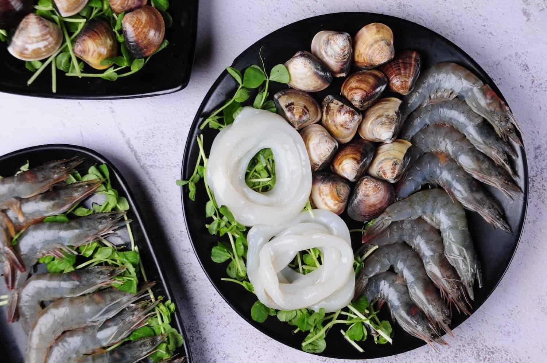 三鮮拼盤(蛤蜊、小鮮蝦、墨魚圈)